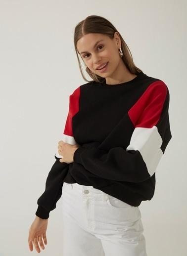 People By Fabrika Blok Detaylı Sweatshirt Siyah